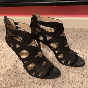 Nine West Black Heels with Gold Zipper Back